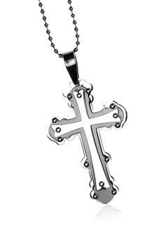 Edelstahl Halskette Herren mit Kreuz Anhänger Silberfarben Schwarz