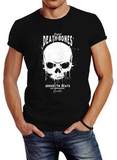 Herren T-Shirt Skull Death and Bones Totenkopf Club Outfit Slim Fit Neverless®