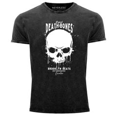 Neverless® Herren T-Shirt Vintage Shirt Printshirt  Skull Death and Bones Totenkopf Club Outfit Used Look Slim Fit