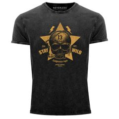 Neverless® Herren T-Shirt Totenkopf Vintage Tattoo Shirt Stay Wild Skull Print Used Look Slim Fit