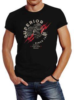 Herren T-Shirt Superior Eagle Since 1976 Adler Print Slim Fit Neverless®