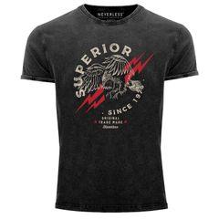 Neverless® Herren T-Shirt Vintage Shirt Printshirt Superior Eagle Since 1976 Aufdruck Adler Print Used Look Slim Fit