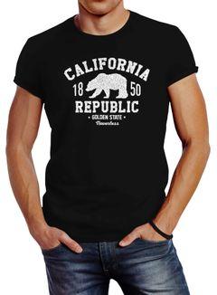 Herren T-Shirt California Republic Kalifornien Golden State Grizzly Bär Bear Logo Slim Fit Neverless®