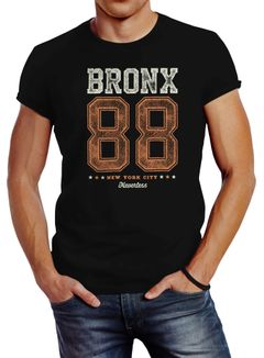 Herren T-Shirt Bronx 88 New York City Print Aufdruck Slim Fit Neverless®