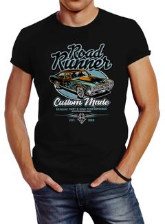 Herren T-Shirt Roadrunner American Muscle Car Tuning Retro Sports Car Vintage Motiv Slim Fit Neverless®
