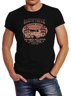 Herren T-Shirt Hot Rod Big Block Car Tuning V8 Vintage Truck Print Slim Fit Neverless®