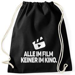 Moonworks® Turnbeutel Alle im Film, Keiner im Kino Stoffbeutel Gymbag Drogen Spruch Party feiern Festival