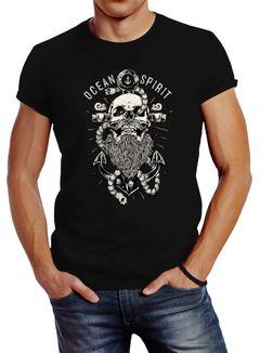Herren T-Shirt Skull Captain Anker Totenkopf Bart Kapitän Ocean Spirit Slim Fit Neverless®