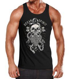 Herren Tank-Top Skull Captain Anker Totenkopf Bart Kapitän Ocean Spirit Muskelshirt Muscle Shirt Neverless®