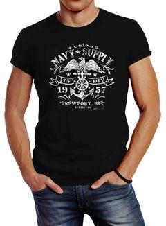 Herren T-Shirt Maritimes Anker Adler Motiv Slim Fit Neverless®