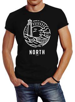 Herren T-Shirt Logo Outline Art maritim Leuchtturm Welle Aufdruck North Slim Fit Neverless®