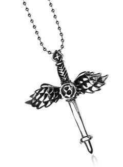 Halskette Herren Edelstahl Kette Kugelkette Anhänger Kreuz Flügel