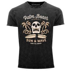 Neverless® Herren T-Shirt Surf-Motiv Totenkopf Palm Beach Vintage Shirt