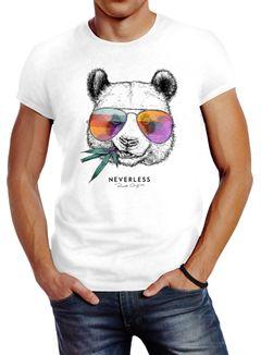 Neverless® Herren T-Shirt Panda Bär Aufdruck Tiermotiv mit Sonnenbrille Fashion Streetstyle