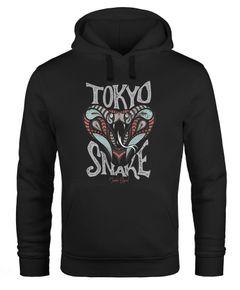 Hoodie Herren Japan Kobra Aufdruck Tokyo Snake Schriftzug Vintage Print Fashion Streetstyle Kapuzen-Pullover Männer Neverless®