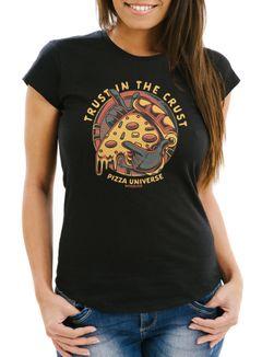 Damen T-Shirt Pizza Motiv Comic Stil Spruch Trust in the crust Fashion Streetstyle Slim Fit Neverless®