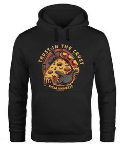 Hoodie Herren Pizza Motiv Comic Stil Spruch Trust in the crust Fashion Streetstyle Kapuzen-Pullover Männer Neverless®
