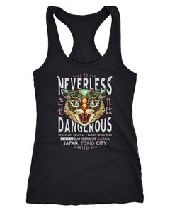 Damen Tank-Top Design Print Katzenkopf Dangerous Cat Motiv Japan Tokio City Schriftzug Fashion Streetstyle Racerback Neverless®