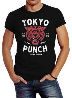 Herren T-Shirt Tigerkopf Print Vintage Style Japan Design Tokio Punch Schriftzug Fashion Streetstyle Slim Fit Neverless®