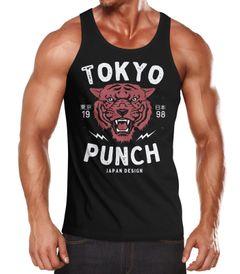 Herren Tank-Top Tigerkopf Print Vintage Style Japan Design Tokio Punch Schriftzug Fashion Streetstyle Muskelshirt Muscle Shirt Neverless®