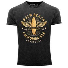 Neverless® Herren T-Shirt Vintage Shirt Printshirt Surfing Motiv Vintage Effekt Palm Beach California USA Schriftzug Aufdruck Used Look Slim Fit
