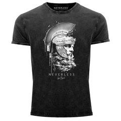 Neverless® Herren T-Shirt Vintage Shirt Printshirt Sparta Spartaner Kopf Helm Krieger Fashion Streetstyle Aufdruck Used Look Slim Fit