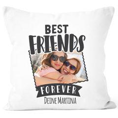 Fotokissen Kissen-Bezug mit Foto und Namen bedrucken lassen Geschenk für beste Freundin Freundschaftsgeschenk SpecialMe®