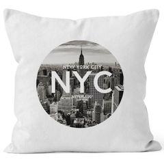 Kissenbezug Kissen-Hülle 40x40 New York City Manhatten Skyline Baumwolle Autiga®