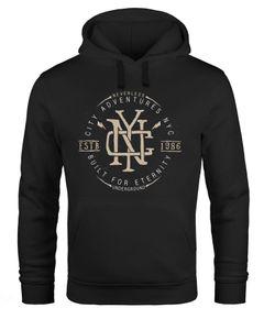 Hoodie Herren NYC Logo Print New York City Built for eternity Schriftzug Fashion Streetstyle Kapuzen-Pullover Männer Neverless®