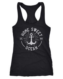 Damen Tank-Top Anker Logo maritim Home Sweet Ocean Schriftzug Fashion StreetstyleRacerback Neverless®