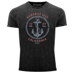 Neverless® Herren T-Shirt Vintage Shirt Printshirt Anker Motiv maritim Schriftzug California Paradise lost Fashion Streetstyle Aufdruck Used Look Slim Fit