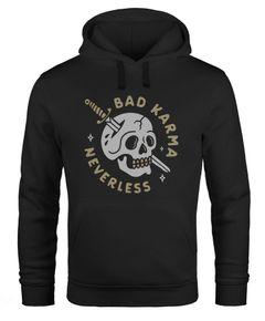 Hoodie Herren Bikermotiv Skull Bad Karma Schriftzug Fashion Streetstyle Kapuzen-Pullover Männer Neverless®