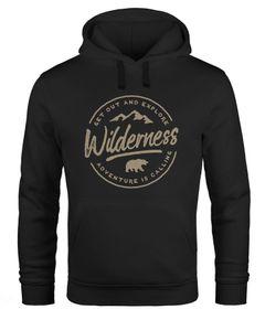 Hoodie Herren Adventure Logo Berge Mountain Bär Wilderness Schriftzug Fashion Streetstyle Kapuzen-Pullover Männer Neverless®