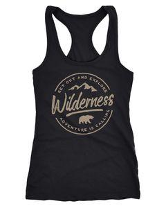 Damen Tank-Top Adventure Logo Berge Mountain Bär Wilderness Schriftzug Fashion Streetstyle Racerback Neverless®