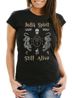 Damen T-Shirt Tiger Motiv Totenkopf India Spirit Schriftzug Indien Fashion Streetstyle Slim Fit Neverless®