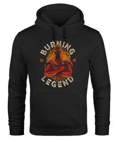 Hoodie Herren Sparta Burning Legend Schriftzug Fashion Streetstyle Kapuzen-Pullover Männer Neverless®