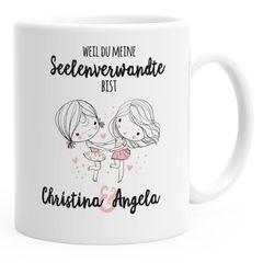 Kaffeetasse Seelenverwandte beste Freunde Tasse Wunschnamen personalisierte Geschenke Freundschaftsgeschenk SpecialMe®