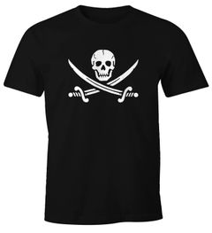 Herren T-Shirt Totenkopf Pirat Piratenflagge Motiv Black Jack Fun Shirt Moonworks®