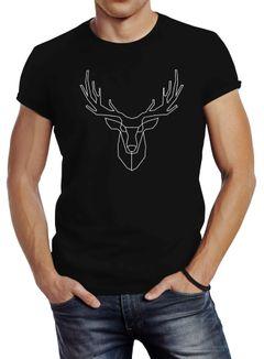 Herren T-Shirt Hirsch Polygon Geweih Geometrisch Formen Slim Fit Neverless®