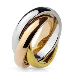 Ring Edelstahl Damen Herren Tricolor Triple 3 in 1 Dreierring Autiga®