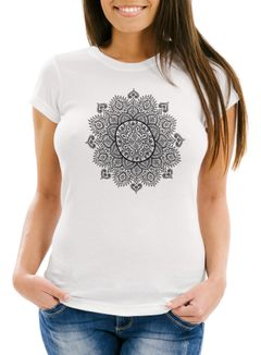 Damen T-Shirt Mandala Ethno Boho Bohemian Slim Fit Neverless®
