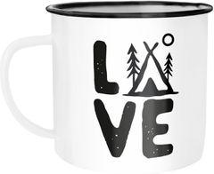 Emaille Tasse Becher Love Camping Outdoor Design Zelt-Motiv Travelling Trekking Kaffeetasse Moonworks®