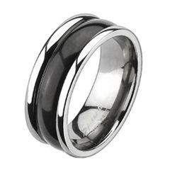 Herren Damen Ring Partnering Titan Titanium 2-Tone zweifarbig gewölbt
