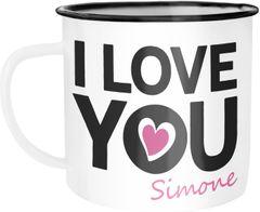Emaille-Tasse Becher mit anpassbarem Namen und I love you Aufdruck Herz personalisierte Geschenke Liebesgeschenk Jahrestag SpecialMe®