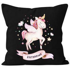 Kissen-Bezug Einhorn mit Namen Kissen-Hülle Namenskissen Baumwolle personalisierte Geschenke Dekokissen SpecialMe®