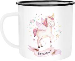 Emaille-Tasse mit Namen Einhorn Motiv Emaille-Becher personalisierte Geschenke Namensbecher Unicorn SpecialMe®