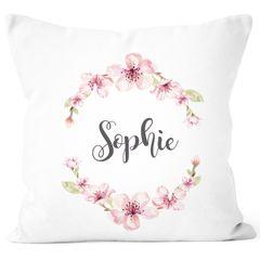 Kissen-Bezug mit Namen Blumen Kissen-Hülle Namenskissen Baumwolle personalisierte Geschenke Dekokissen SpecialMe®