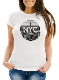 Damen T-Shirt NYC New York City Manhatten Skyline Fotoprint Slim Fit Neverless®