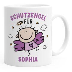 SpecialMe® Kunststoff Kinder-Tasse Schutzengel mit Namen personalisierte Namenstasse für Mädchen Geschenk Glücksbringer