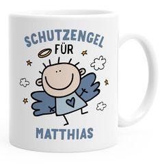 SpecialMe® Kunststoff Kinder-Tasse Schutzengel mit Namen personalisierte Namenstasse für Jungen Geschenk Glücksbringer